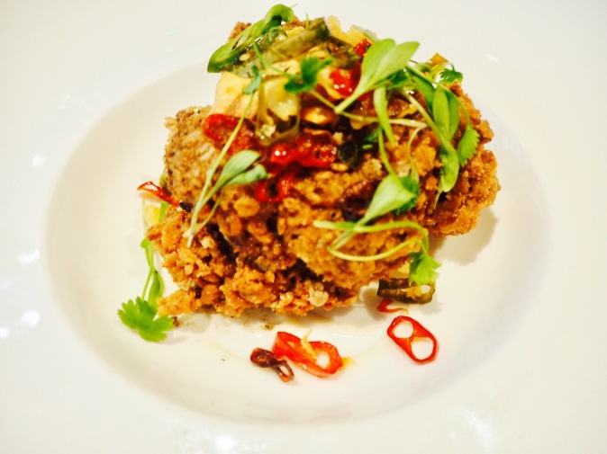 Crispy chicken with coriander and chilli