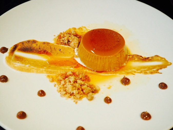 Dulce De Leche flan with Italian meringue and salted dulce