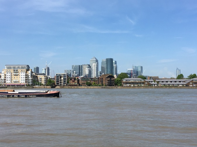 View of Canary Wharf from River Thames