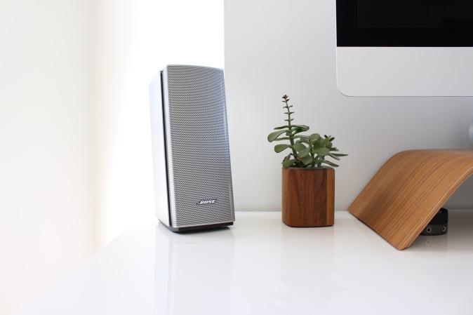 Bose speaker on a desk